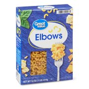 (4 pack) Great Value Elbows Pasta, 16 oz
