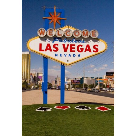 MOHome Polyster 5x7ft Photography Background Welcome to LAS VEGAS Sign Navada City Road Street Green Grass Theme Backdrops Portraits Art Children Adult Travel Video Photo Studio Shooting - Las Vegas Themed Dress Up