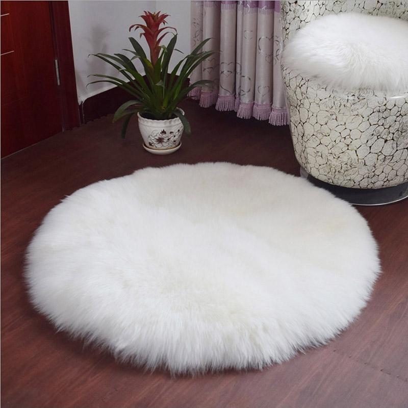 Soft Plain Fluffy Faux Fur Seat Rug Mat Round Fluffy Small Rug Chair Carpet Pad