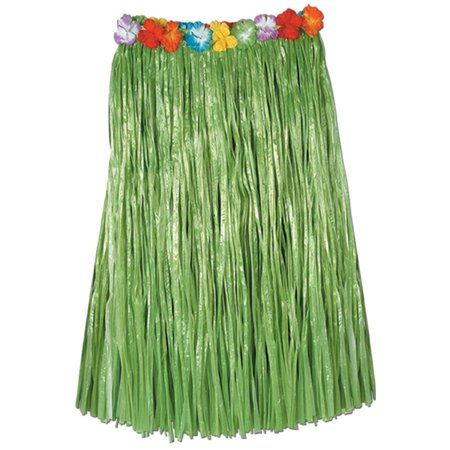 Club Pack of 12 Tropical Green Adult Sized Artificial Grass Hula Skirt 36