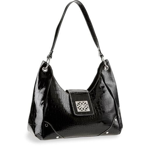 George Croco Mid Hobo Bag, Black