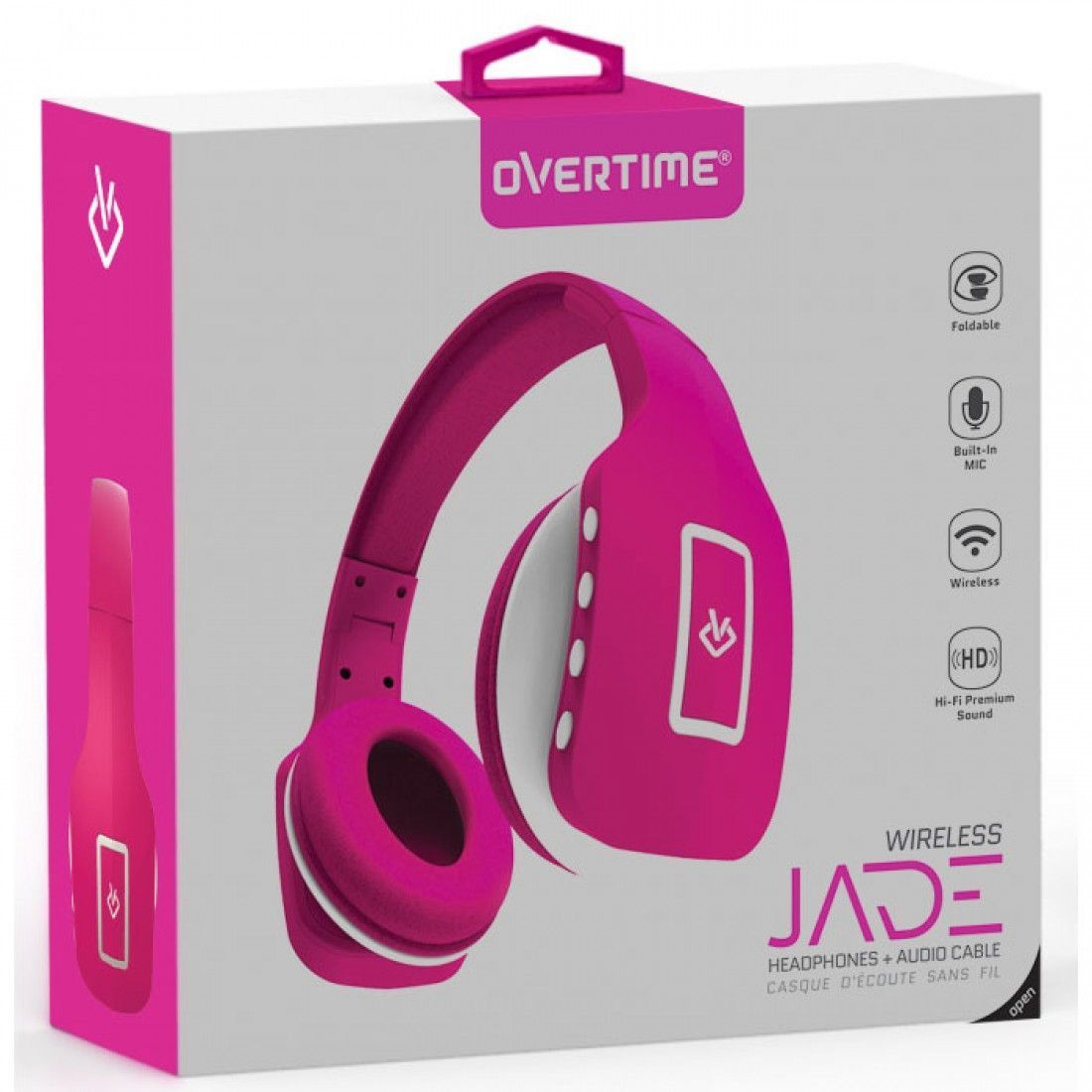 Overtime Jade Foldable Bluetooth Headphones with Built in Mic Hands Free Remote - Black