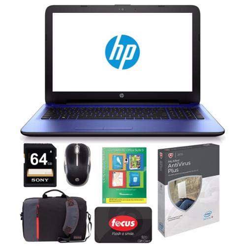 "Refurbished HP 15-ac127ds, Intel Pentium Quad Core, 15.6"" LED, Windows 10 Notebook Bundle"