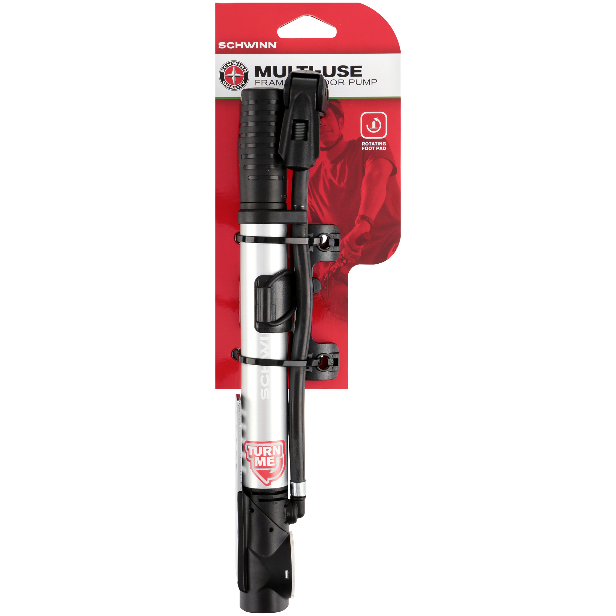 Schwinn® Multi-Use Frame to Floor Bike Pump, Silver/Black - Walmart.com
