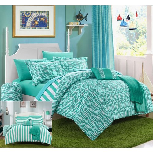10 Piece Nantes Geometric and Striped printed REVERSIBLE Comforter Set Includes Sheets, Duffle Hamper and Fleece Throw