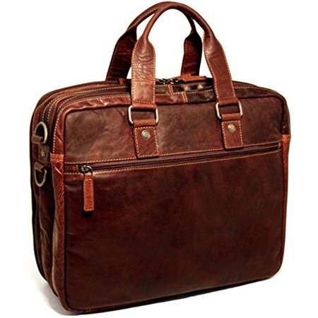 Voyager Triple Gusset Top Zip Business Travel Briefcase (Brown)