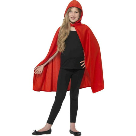 Red Hooded Cape Child Costume Accessory - Small/Medium - Long Red Hooded Cape