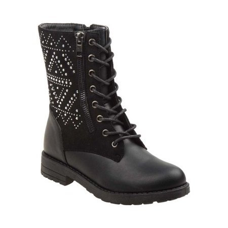 Kensie Girls Black Sparkle Studded Panel Side Zipper Combat Boots for $<!---->