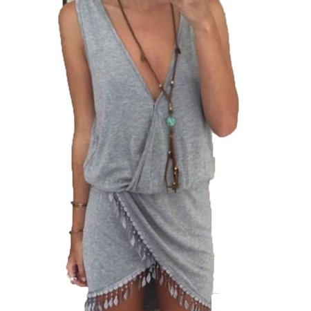 Summer Tassel - Women Summer Casual Sleeveless Tassel Evening Party Beach Dress Short Mini Dress
