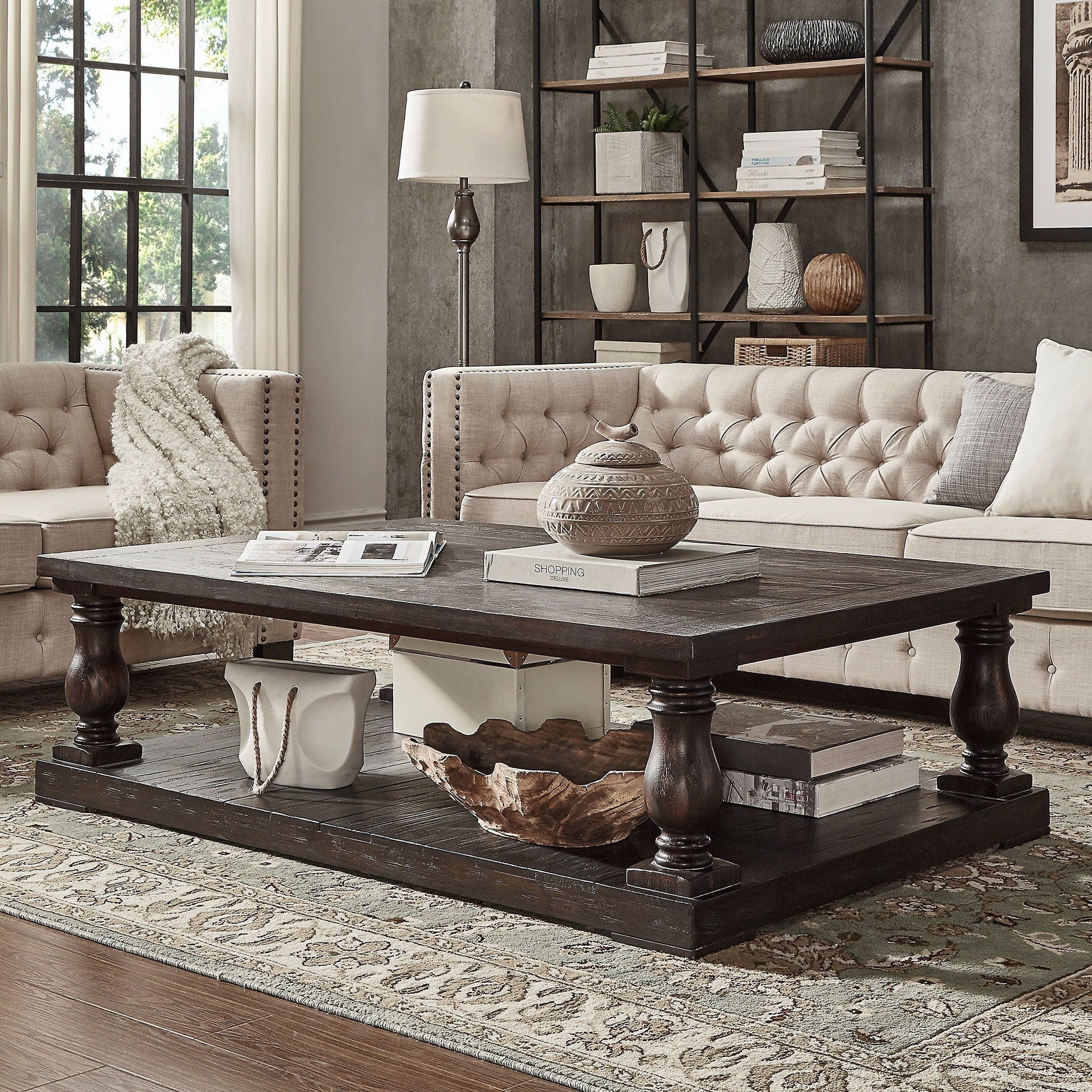 iNSPIRE Q Edmaire Rustic Baluster 60 inch Coffee Table by Artisan