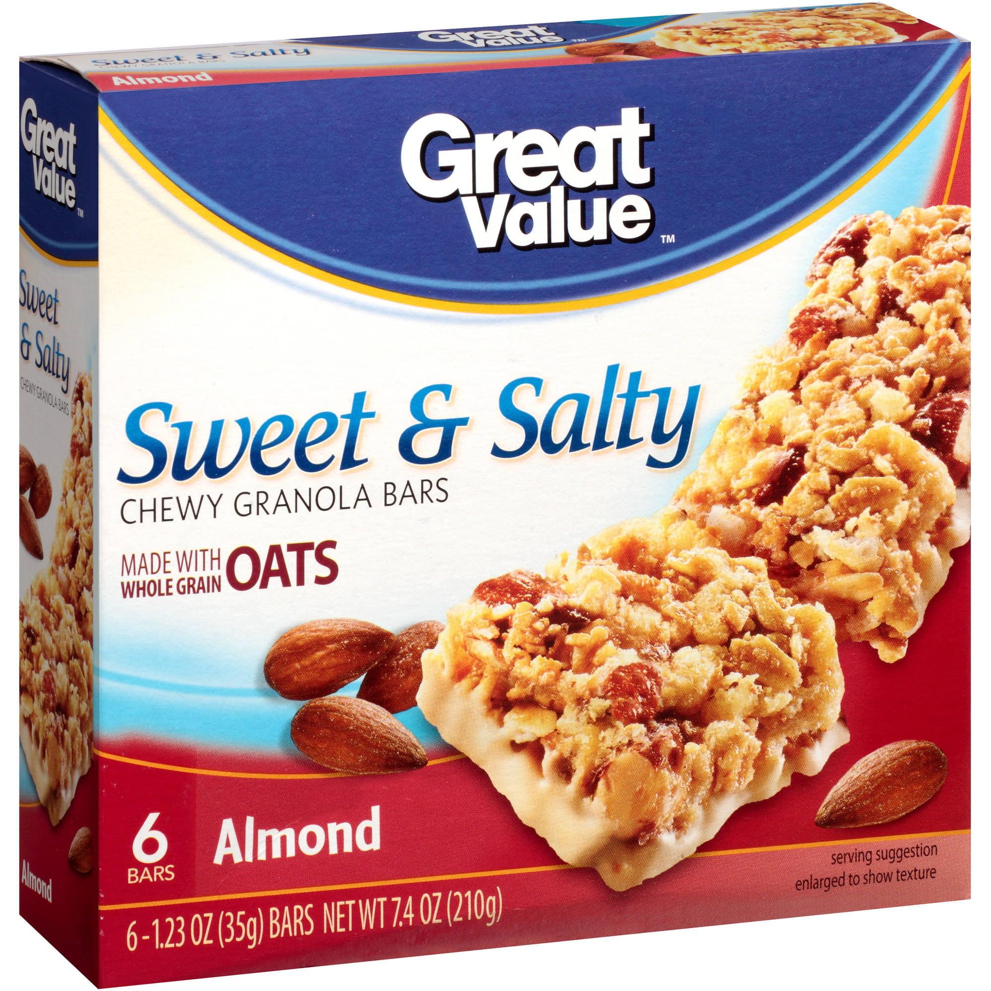 Great Value Sweet & Salty Almonds Granola Bars, 6 pk