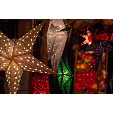 Canvas Print Lighting Christmas Christmas Market Light Star Stretched  Canvas 10 x 14