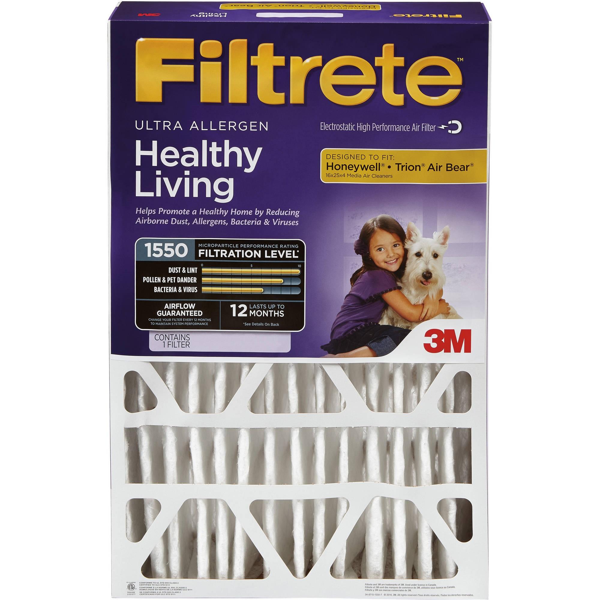 Filtrete Allergen Reduction Deep Pleat HVAC Furnace Air Filter, 1550 MPR, 20 x 25 x 4, 1 Filter