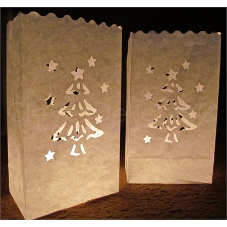 CleverDelights White Luminary Bags - 50 Count - Christmas Tree Design - Luminary Bag