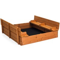 Best Choice Products 47x47in Kids Large Wooden Outdoor Play Cedar Sandbox w/ Sand Screen, 2 Foldable Bench Seats - Brown