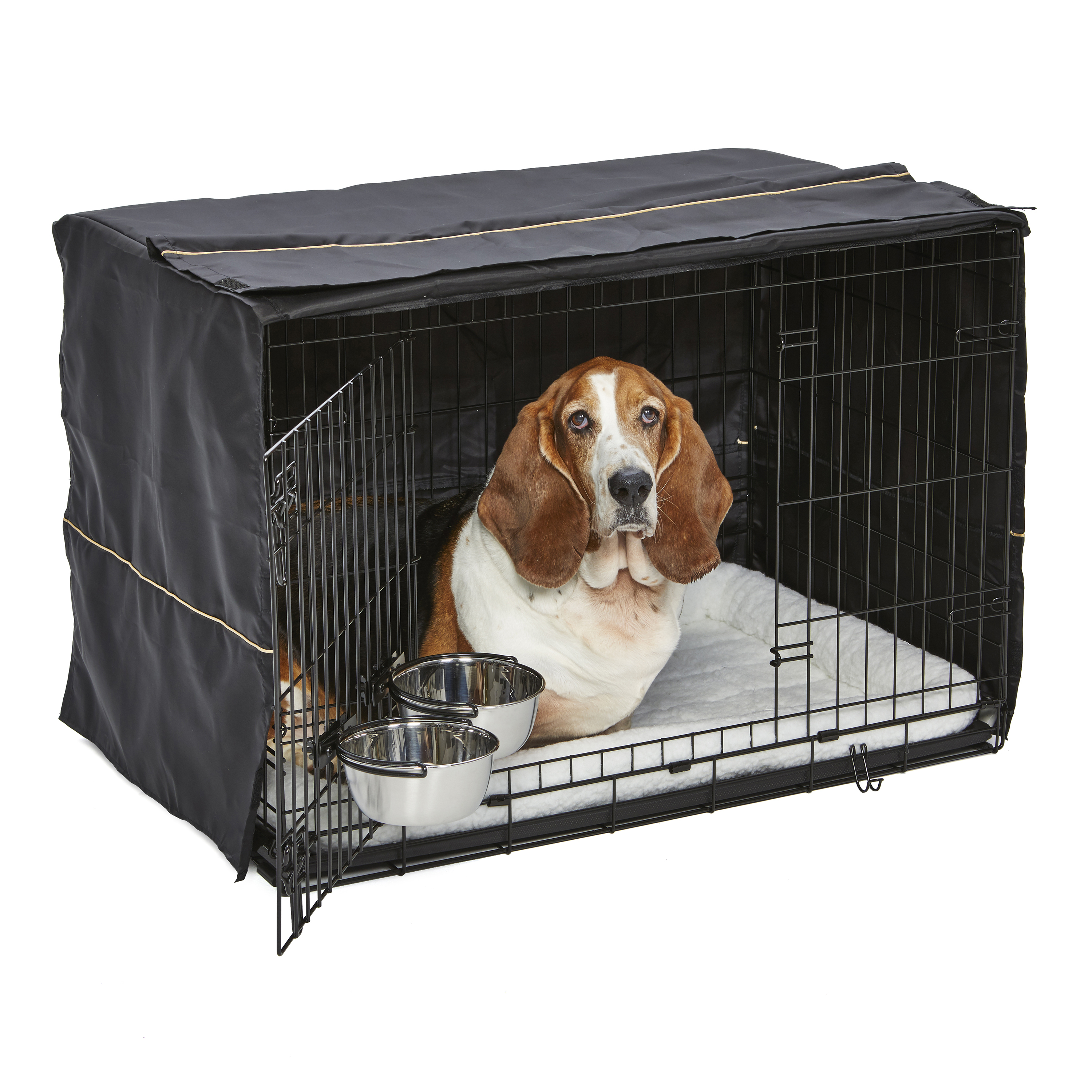 MidWest Homes for Pets Dog Crate Starter Kit | One 2-Door iCrate, Pet Bed, Crate Cover & 2 Pet Bowls | 36-Inch Ideal for Med./Large Dog Breeds