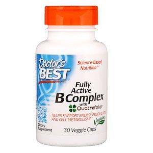 Doctor's Best, Fully Active B Complex with Quatrefolic, 30 Veggie Caps (Pack of (Doctor's Best B Complex)