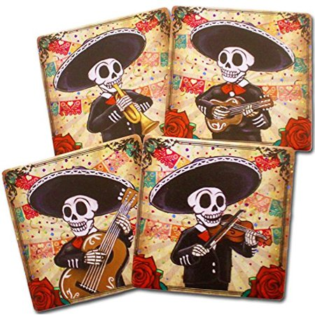 Adorable Kitchen (Day of the Dead Mariachi Band Coasters Set of 4 | Dia de los Muertos Home and Kitchen Decor Giftware, Protect your furniture with this adorable.., By DWK )