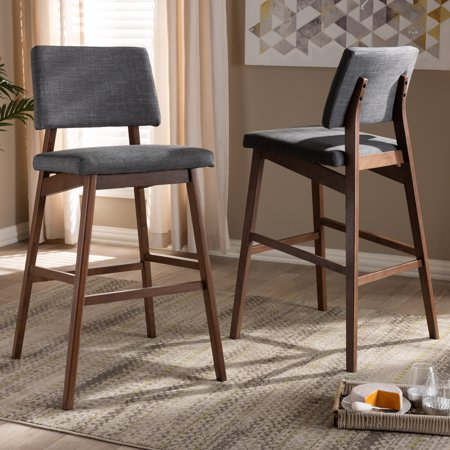 Phenomenal Baxton Studio Colton Mid Century Modern Dark Gray Fabric Upholstered And Walnut Finished Wood Bar Stool Set Forskolin Free Trial Chair Design Images Forskolin Free Trialorg