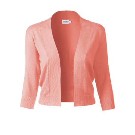 Made by Olivia Women's Basic Solid 3/4 Sleeve Open Front Cropped Cardigan (S-XL) Peach M Neck Cropped Cardigan