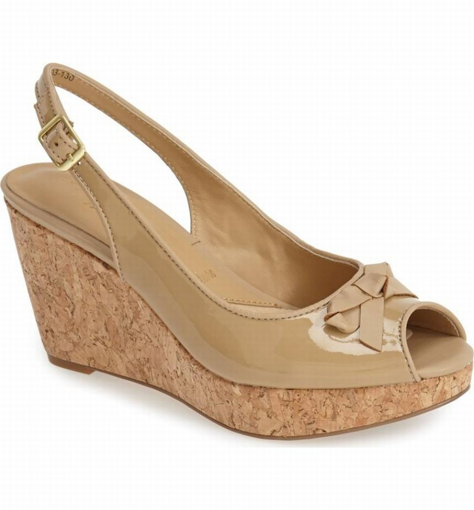 Trotters New Beige Women's Shoes Size 8M Allie Patent Slingback by Trotters