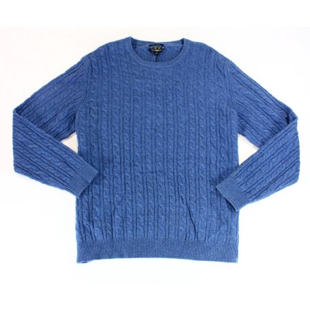Club Room NEW Blue Mens Size 3XL Crewneck Cashmere Cable-Knit Sweater