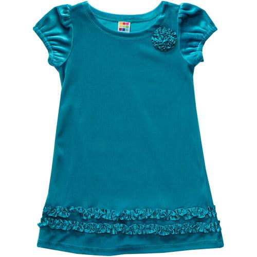 George Baby Girls' Velour Dress with Satin Trim
