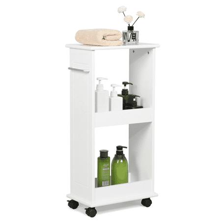 Yaheetech Mobile Storage Cart Toilet Shelf Space Saving Slim Rolling Bathroom Laundry Rack