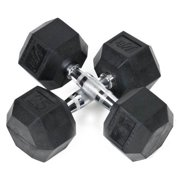 25 lbs. Rubber Coated Hex Dumbbell - Set of 2