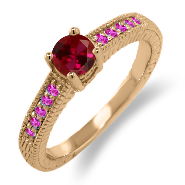 0.78 Ct Round Red Created Ruby Pink Sapphire 925 Rose Gold Plated Silver Ring