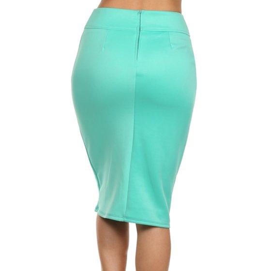 d2b55800de7 MOA Collection - Plus Size Women s Trendy Style Solid Pencil Skirt -  Walmart.com