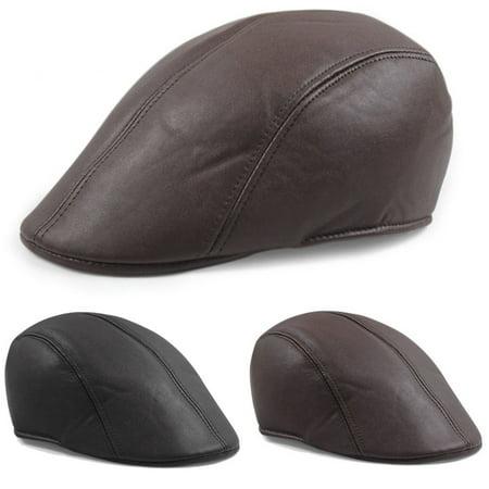 1d3b61d67c2 Men s Leather Flat Ivy Cap Women Newsboy Gatsby Baker Boy Cabbie Golf Beret  Hat - Walmart.com