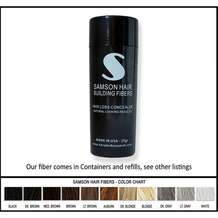 BLACK color Samson Best Hair Loss Concealer Building Fibers CONTAINER With 25 grams USA Also Fits Spray (Best Hair Loss Fibers)
