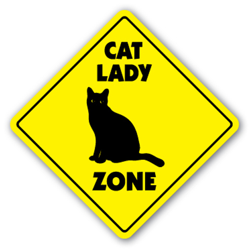 CAT LADY ZONE Sign xing gift novelty crazy kitty litter kitten cats kennel board