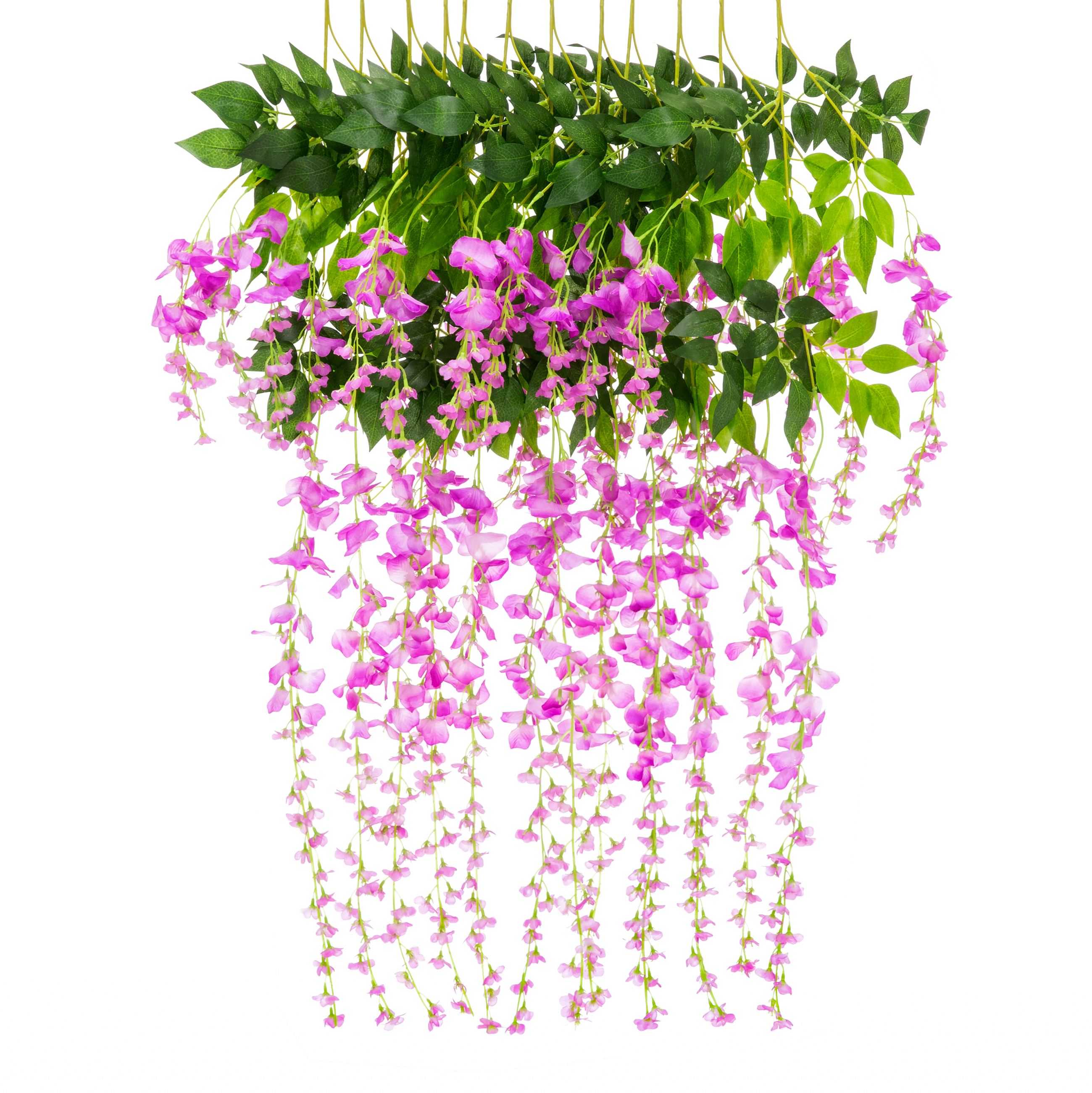 Best Choice Products 12-Pack 3.6ft Artificial Silk Wisteria Vine Hanging Flower Rattan Decor for Weddings, Home - Pink