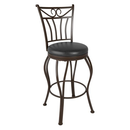 CorLiving Jericho Metal Counter Height Barstool with Glossy Dark Brown Bonded Leather Seat