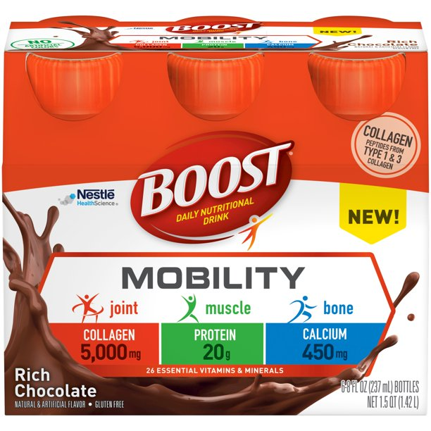 Boost Mobility Ready to Drink Daily Nutritional Drink Rich Chocolate 6 - 8 FL OZ Bottles