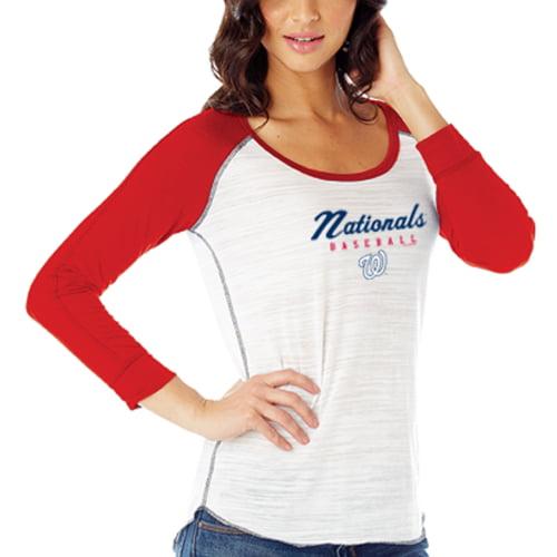 Washington Nationals Women's Multi Count 3/4-Raglan Sleeve T-Shirt - White/Red