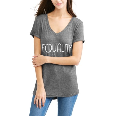 Women's Short Sleeve Vneck Hi-Lo Pride Graphic T-Shirt (L R G Clothing)