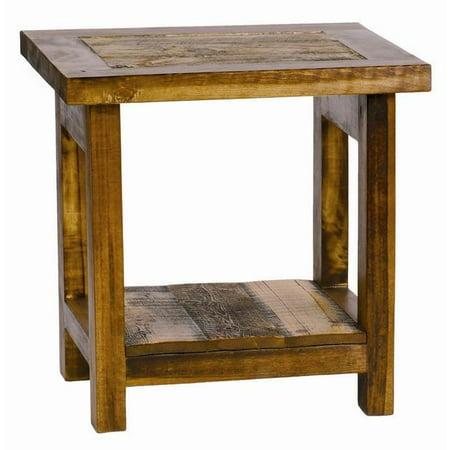 rustic wood end table. Black Bedroom Furniture Sets. Home Design Ideas
