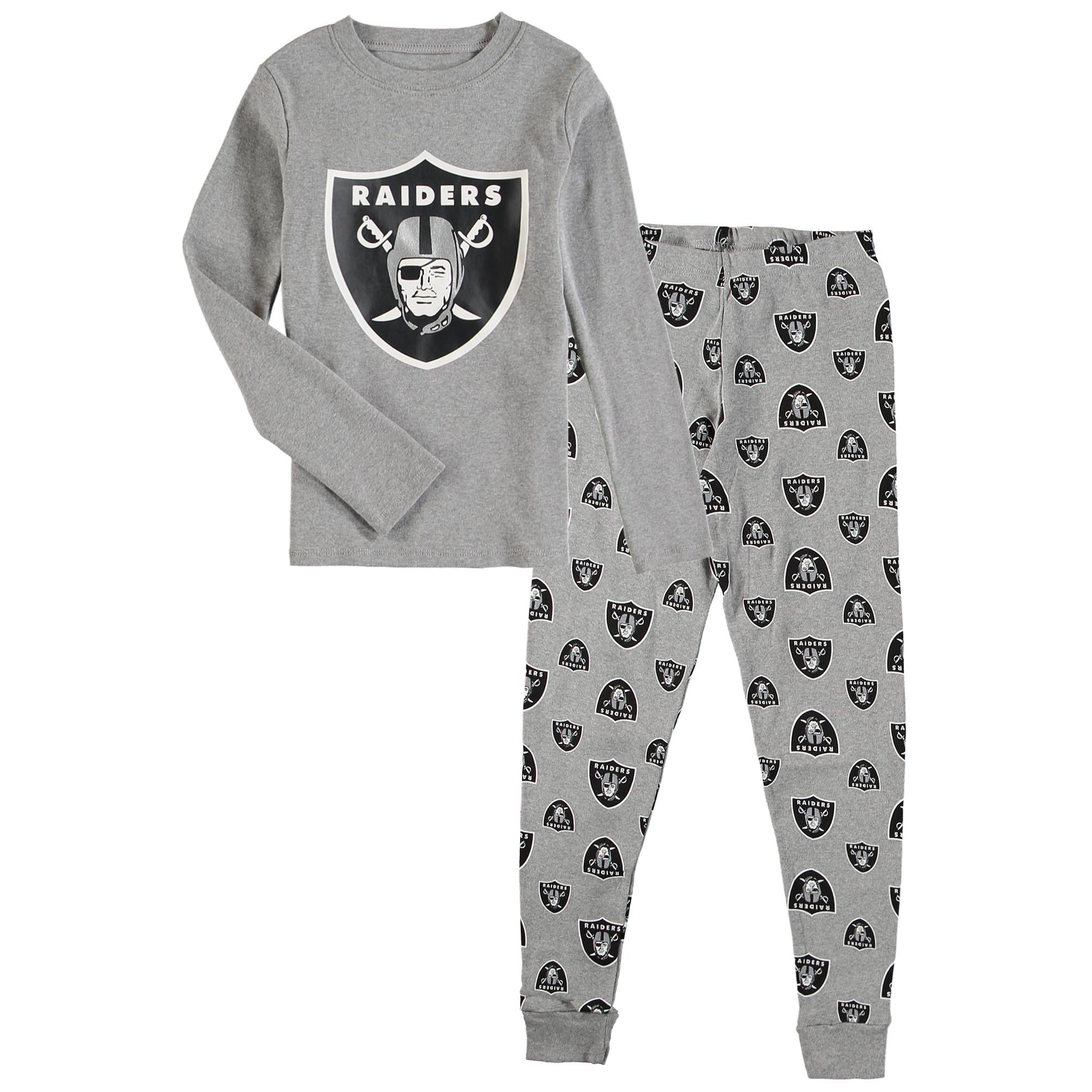 OuterStuff NFL Kids Oakland Raiders Long Sleeve Tee & Pant Sleep Set