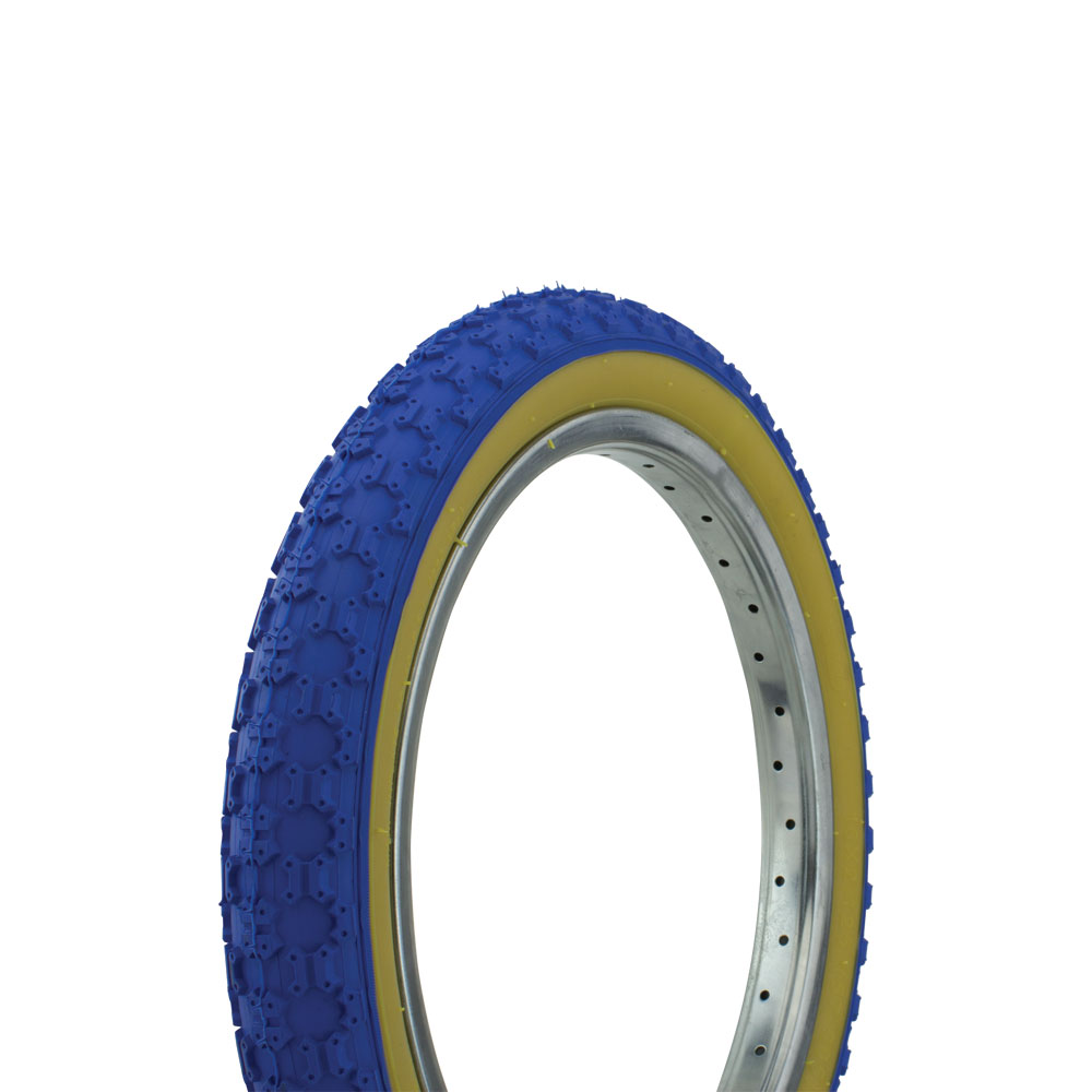 "Bicycle Tire Wanda 16"" x 2.125"" P-104A Comp3 Thread. bike tire, kids bike tire, Various Colors (Blue/Gum)"
