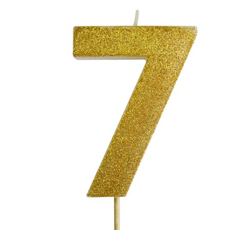 Gold Glitter Number 7 Candle 4