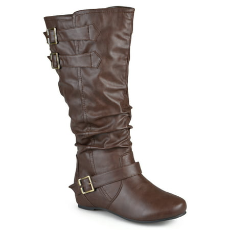 Women's Extra Wide Calf Buckle Slouch Low-wedge Boots