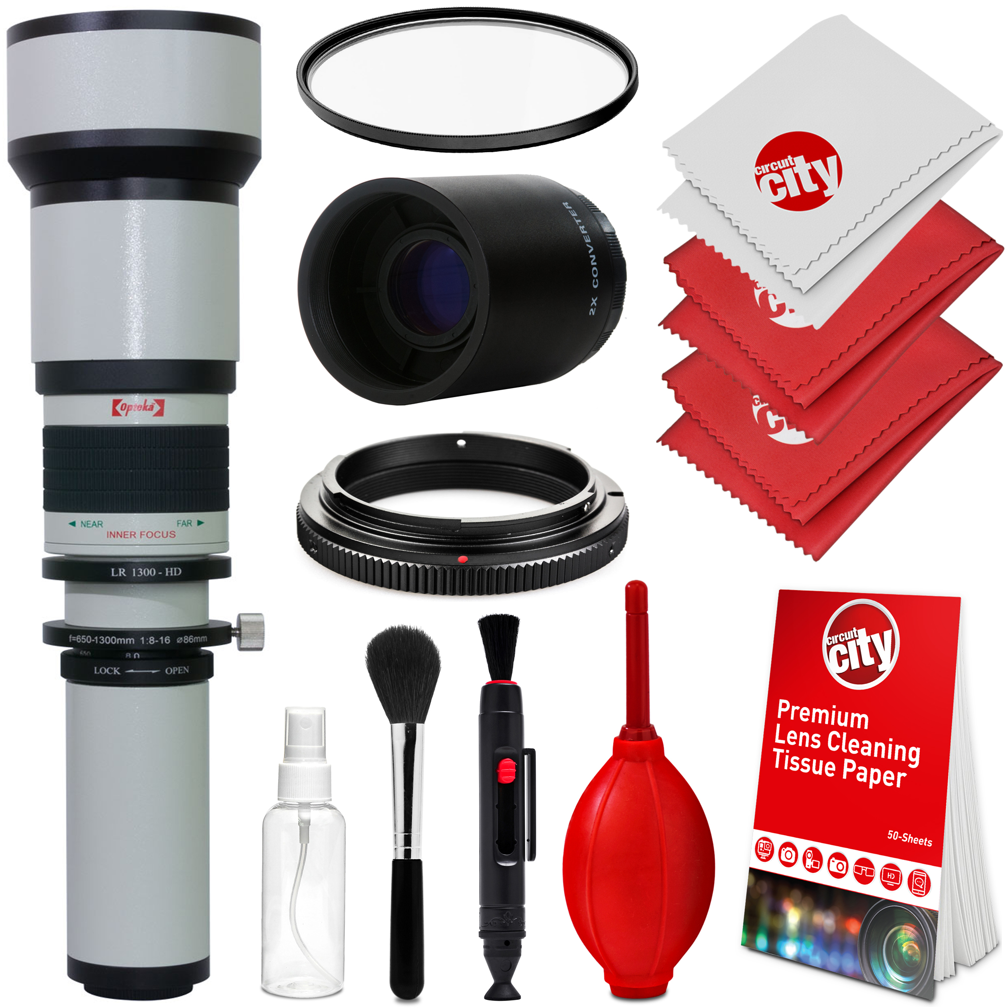 Opteka 650-1300mm (with 2x- 1300-2600mm) f/8 Manual Telep...