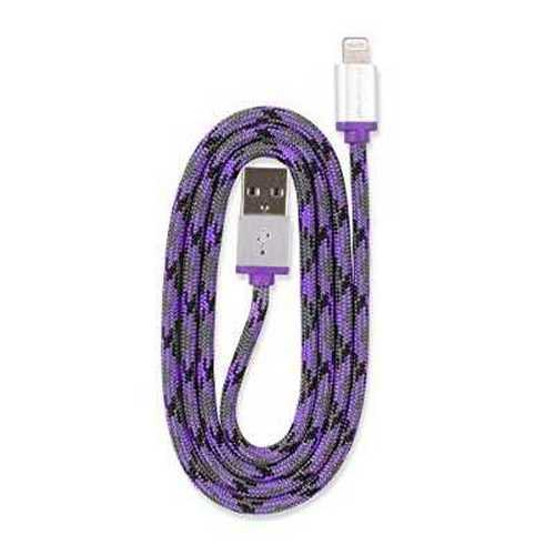 Refurbished 360 Electrical 360400 QuickCharge Lightning to USB Braided Charging Cable, 3'/0.9m, Purple