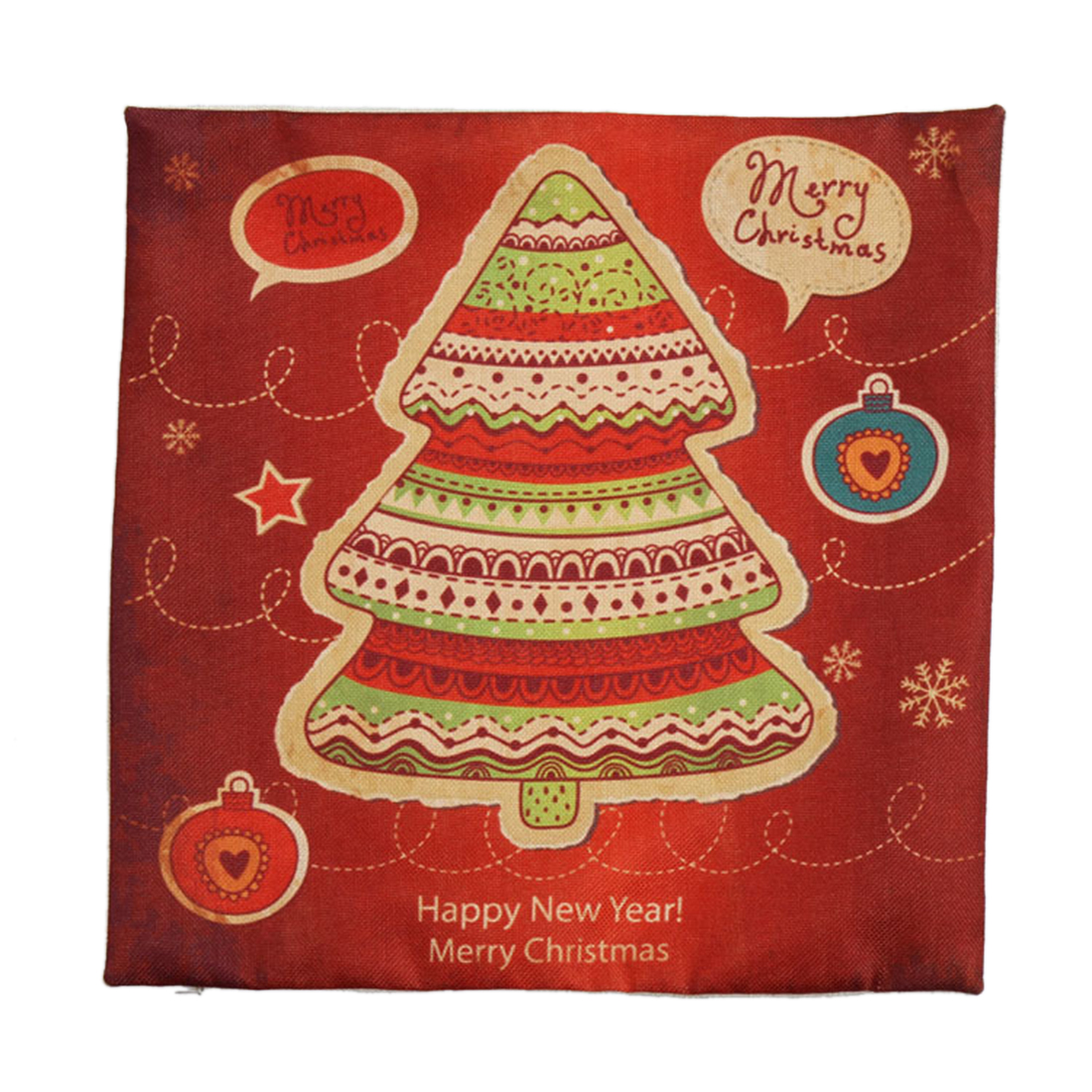 Piccocasa Linen Christmas Trees Pattern Cushion Cover Pillow Case