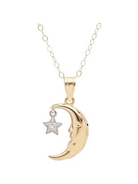 10kt Yellow Gold with Rhodium Moon and Star Pendant, 18