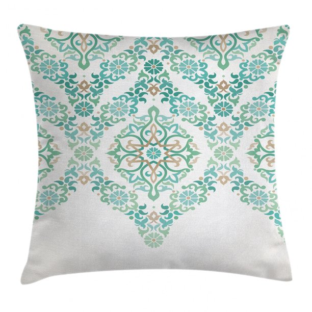 Traditional House Decor Throw Pillow Cushion Cover Retro Middle Age Symmetrical Gothic Garland Forms In Pastel Print Decorative Square Accent Pillow Case 24 X 24 Inches Green Blue By Ambesonne Walmart Com