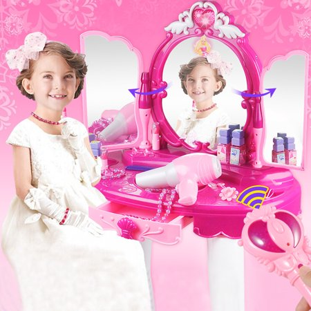 LAFGUR Glamorous Princess Dressing Table with Stool, Mirror, Hair Dryer, Pink Make-Up Table Toy,Dressing Table Toy ()